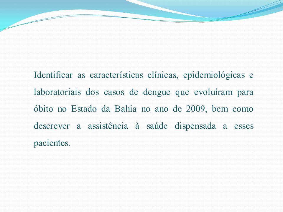 Identificar as características clínicas, epidemiológicas e laboratoriais dos casos de dengue que evoluíram para óbito no Estado da Bahia no ano de 200