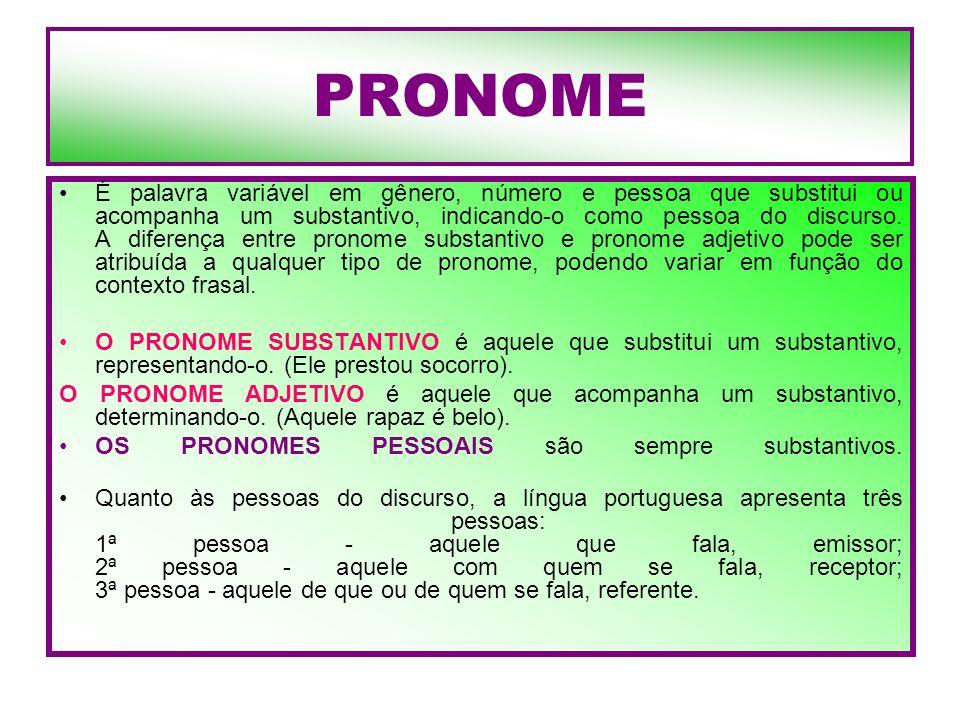 PRONOME É palavra variável em gênero, número e pessoa que substitui ou acompanha um substantivo, indicando-o como pessoa do discurso. A diferença entr