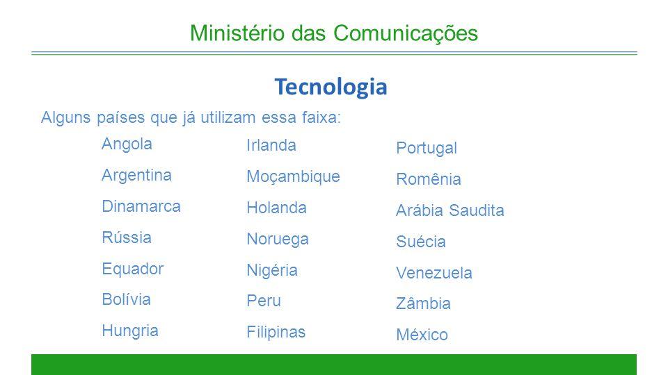Ministério das Comunicações Tecnologia Alguns países que já utilizam essa faixa: Irlanda Moçambique Holanda Noruega Nigéria Peru Filipinas Portugal Ro