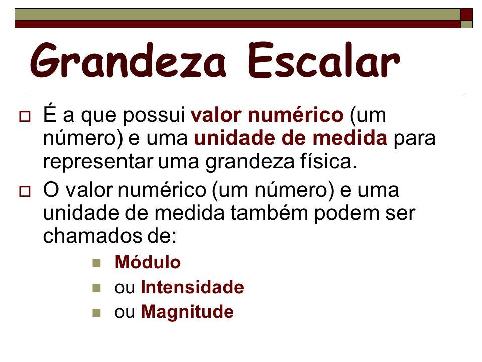 Grandeza Escalar É a que possui valor numérico (um número) e uma unidade de medida para representar uma grandeza física. O valor numérico (um número)