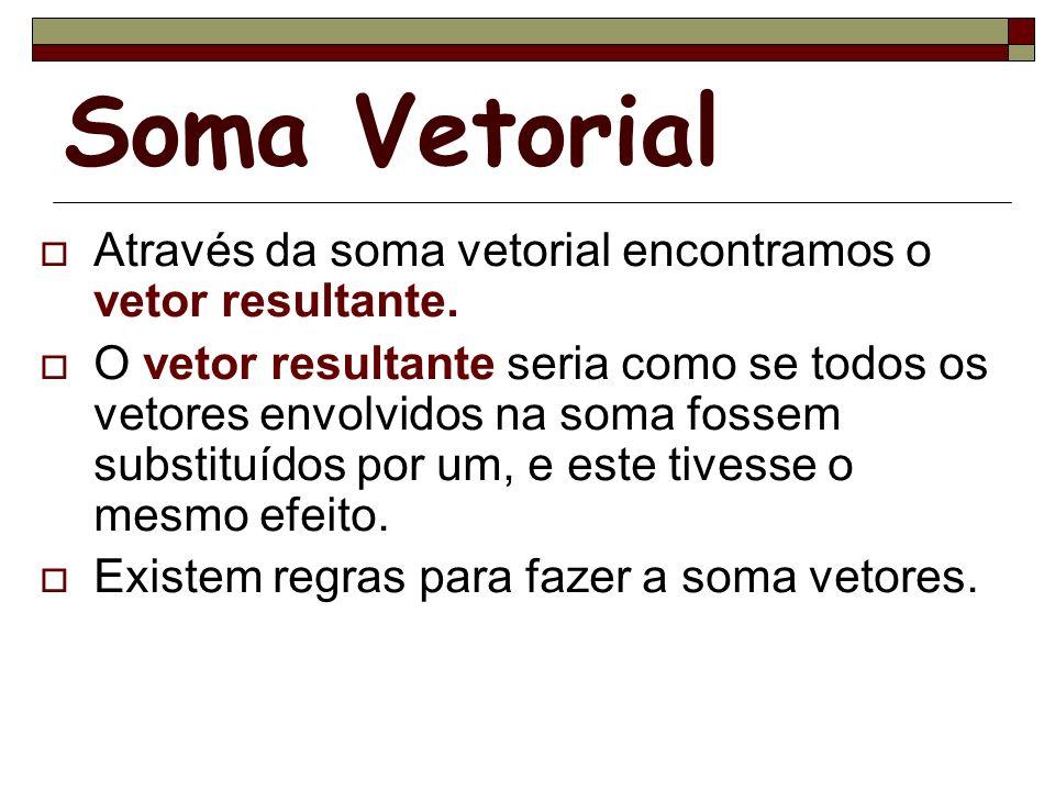 Soma Vetorial Através da soma vetorial encontramos o vetor resultante. O vetor resultante seria como se todos os vetores envolvidos na soma fossem sub