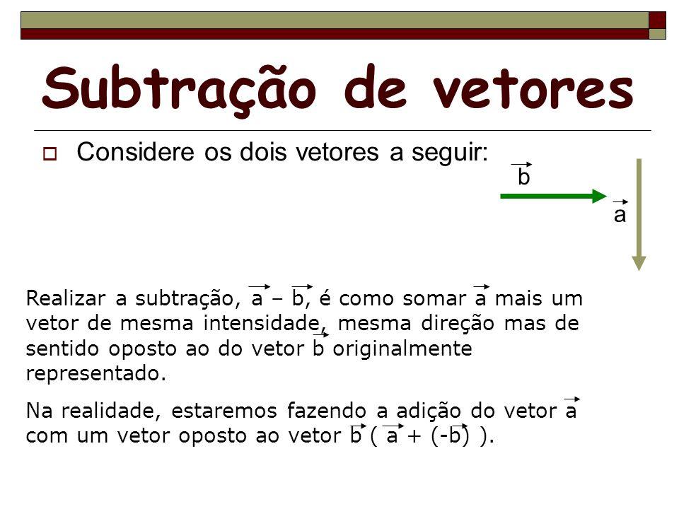 Subtração de vetores Considere os dois vetores a seguir: a b Realizar a subtração, a – b, é como somar a mais um vetor de mesma intensidade, mesma dir