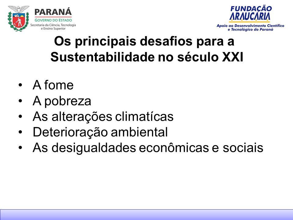 Os principais desafios para a Sustentabilidade no século XXI A fome A pobreza As alterações climatícas Deterioração ambiental As desigualdades econômicas e sociais