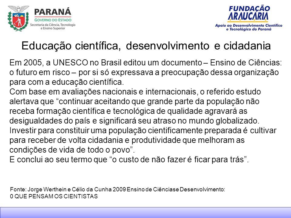 Fonte: Jorge Werthein e Célio da Cunha 2009 Ensino de Ciênciase Desenvolvimento: 0 QUE PENSAM OS CIENTISTAS Educação científica, desenvolvimento e cidadania Em 2005, a UNESCO no Brasil editou um documento – Ensino de Ciências: o futuro em risco – por si só expressava a preocupação dessa organização para com a educação científica.