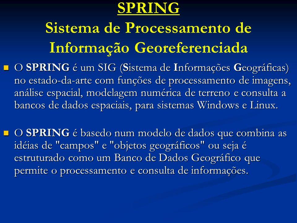 SPRING Sistema de Processamento de Informação Georeferenciada O SPRING é um SIG (Sistema de Informações Geográficas) no estado-da-arte com funções de