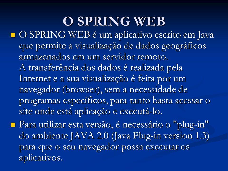 O SPRING WEB O SPRING WEB é um aplicativo escrito em Java que permite a visualização de dados geográficos armazenados em um servidor remoto. A transfe