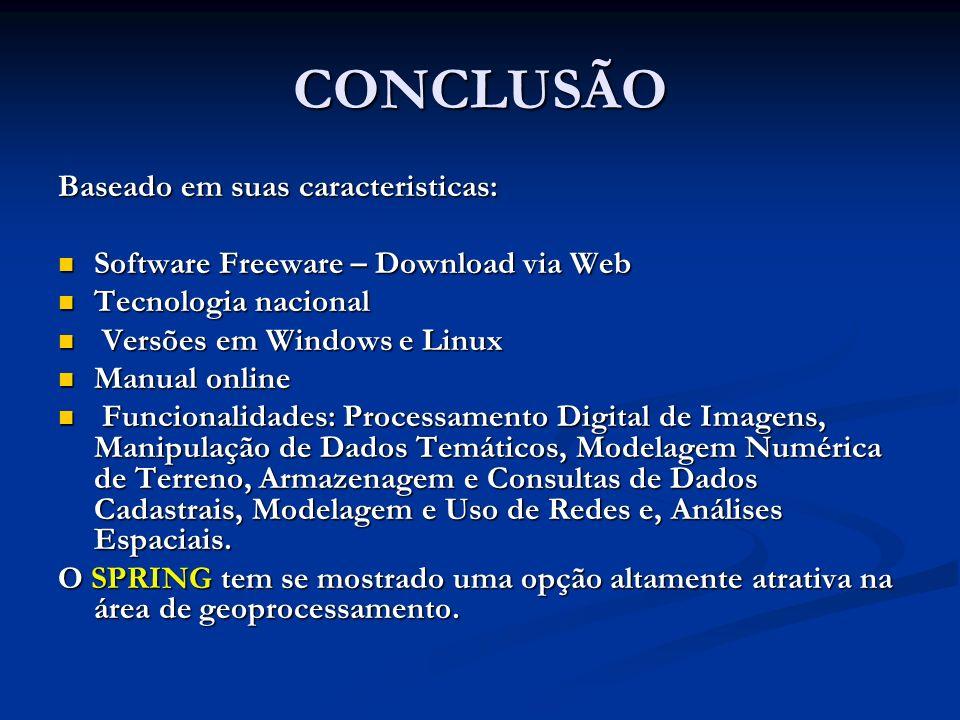 CONCLUSÃO Baseado em suas caracteristicas: Software Freeware – Download via Web Software Freeware – Download via Web Tecnologia nacional Tecnologia na