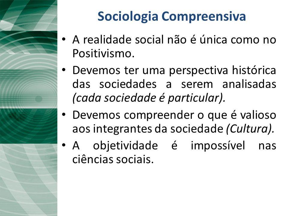 Sociologia Compreensiva A realidade social não é única como no Positivismo. Devemos ter uma perspectiva histórica das sociedades a serem analisadas (c