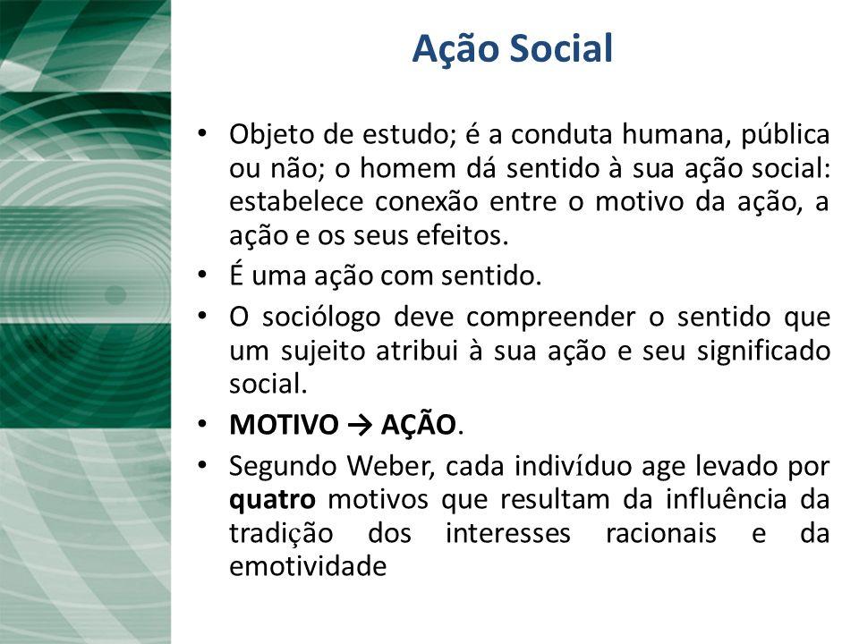 Ação Social Objeto de estudo; é a conduta humana, pública ou não; o homem dá sentido à sua ação social: estabelece conexão entre o motivo da ação, a a