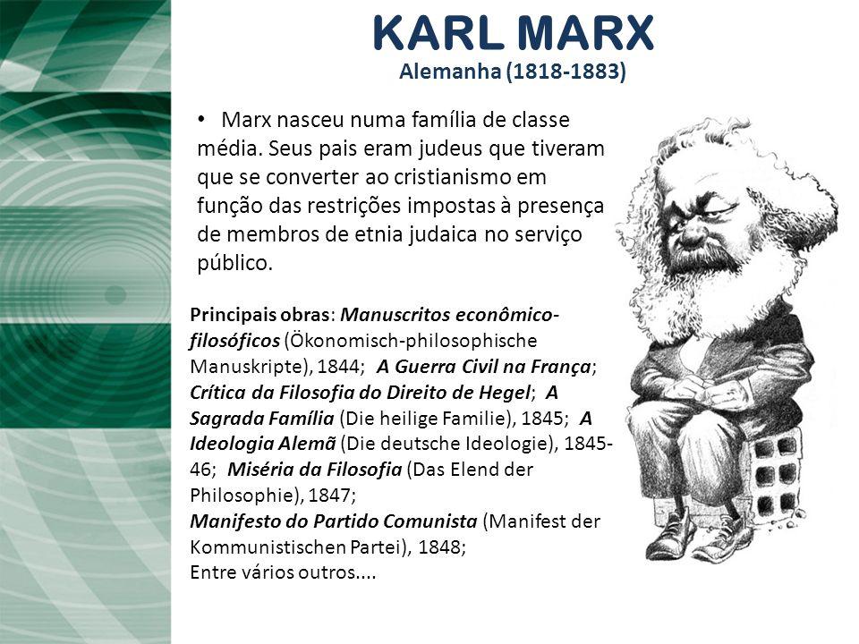 KARL MARX Alemanha (1818-1883) Principais obras: Manuscritos econômico- filosóficos (Ökonomisch-philosophische Manuskripte), 1844; A Guerra Civil na F