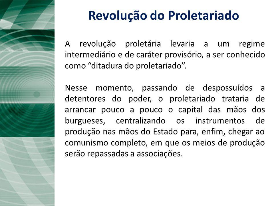 A revolução proletária levaria a um regime intermediário e de caráter provisório, a ser conhecido como ditadura do proletariado. Nesse momento, passan