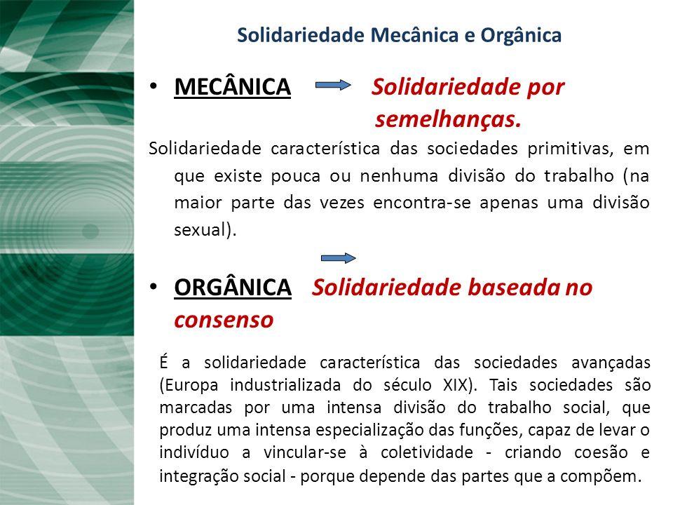Solidariedade Mecânica e Orgânica MECÂNICA Solidariedade por semelhanças. Solidariedade característica das sociedades primitivas, em que existe pouca
