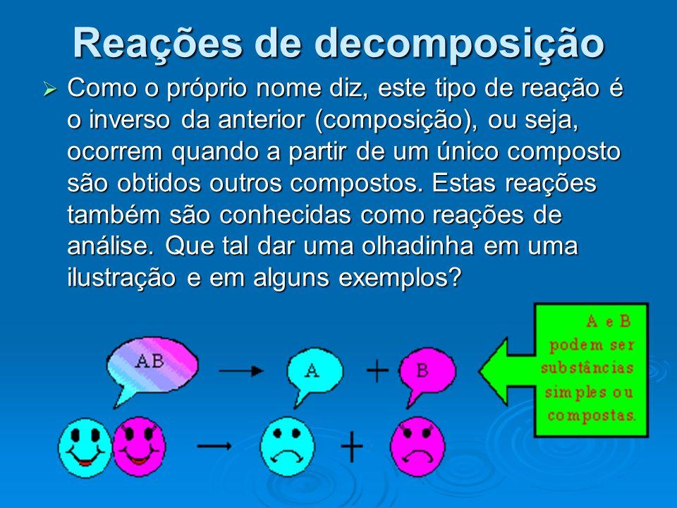 Como o próprio nome diz, este tipo de reação é o inverso da anterior (composição), ou seja, ocorrem quando a partir de um único composto são obtidos o