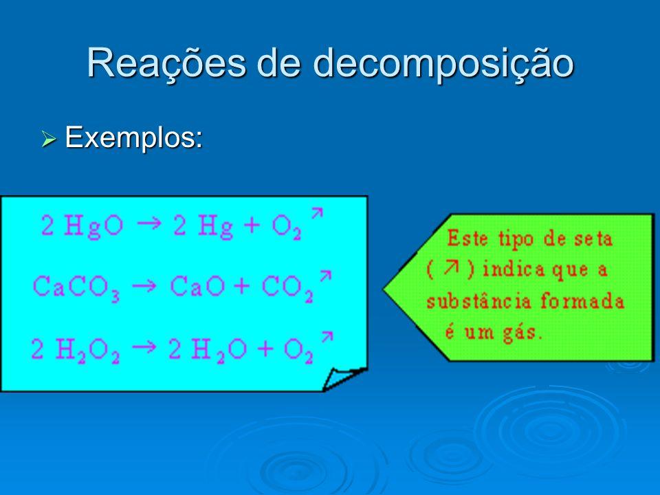 Exemplos: Exemplos: Reações de decomposição