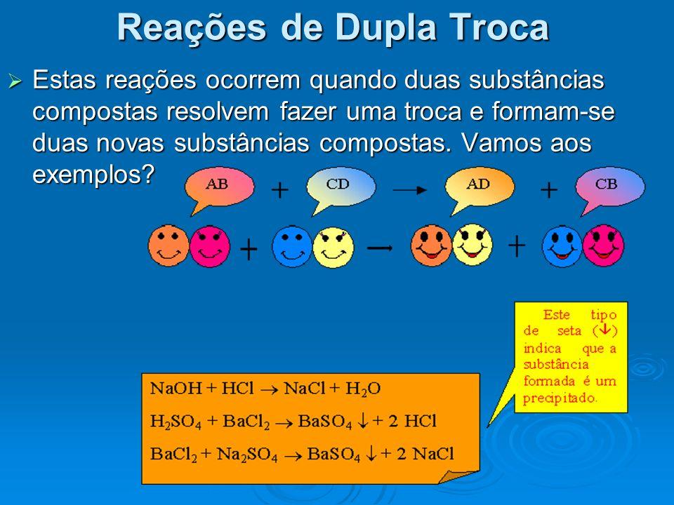 Estas reações ocorrem quando duas substâncias compostas resolvem fazer uma troca e formam-se duas novas substâncias compostas. Vamos aos exemplos? Est