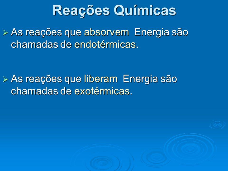 Reações Químicas As reações que absorvem Energia são chamadas de endotérmicas. As reações que absorvem Energia são chamadas de endotérmicas. As reaçõe