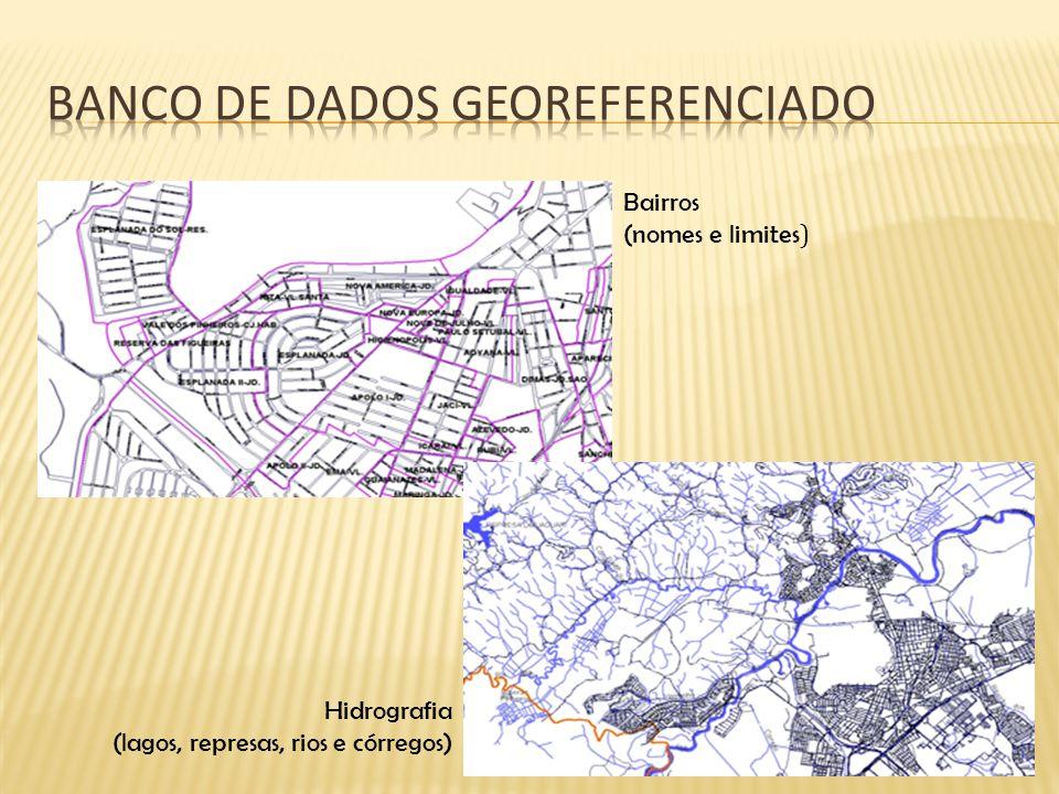 Bairros (nomes e limites ) Hidrografia (lagos, represas, rios e córregos)