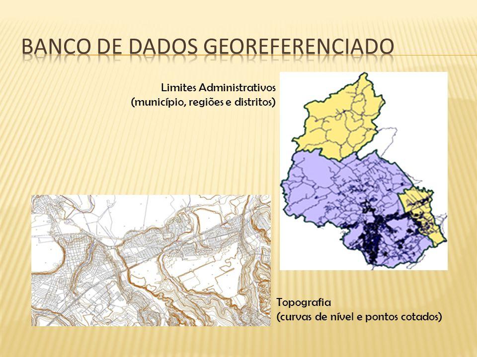 Topografia (curvas de nível e pontos cotados) Limites Administrativos (município, regiões e distritos)
