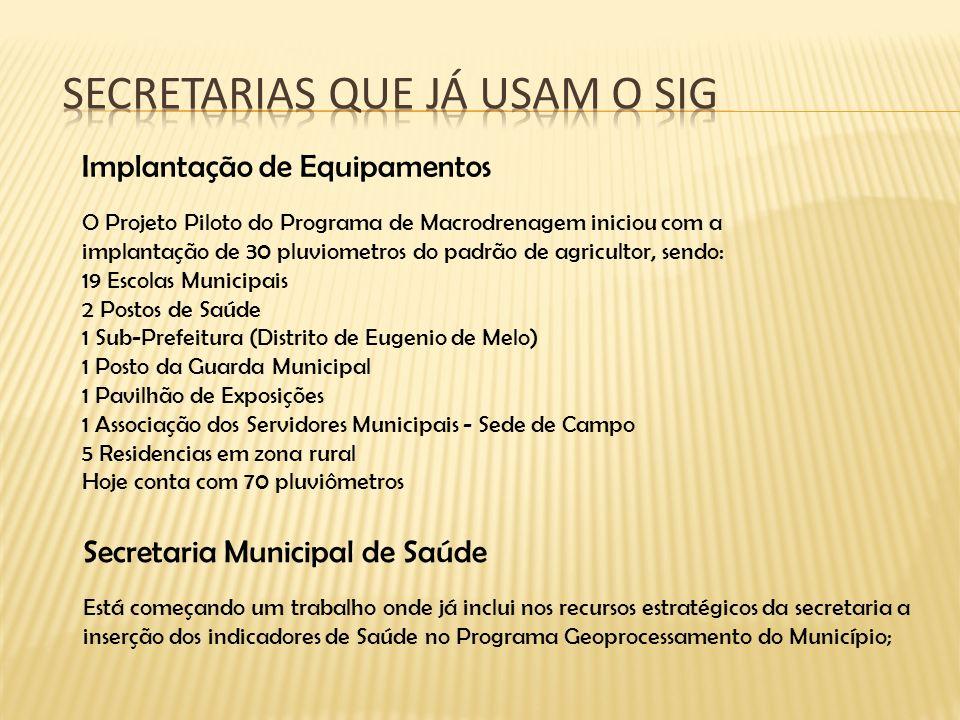 Implantação de Equipamentos O Projeto Piloto do Programa de Macrodrenagem iniciou com a implantação de 30 pluviometros do padrão de agricultor, sendo: