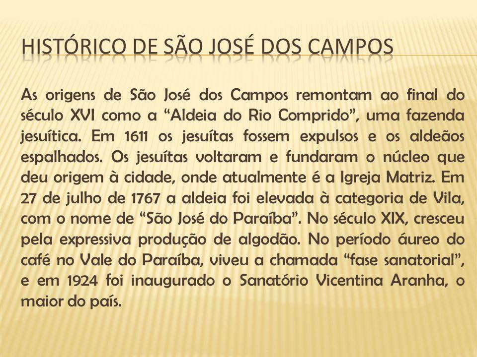 As origens de São José dos Campos remontam ao final do século XVI como a Aldeia do Rio Comprido, uma fazenda jesuítica. Em 1611 os jesuítas fossem exp