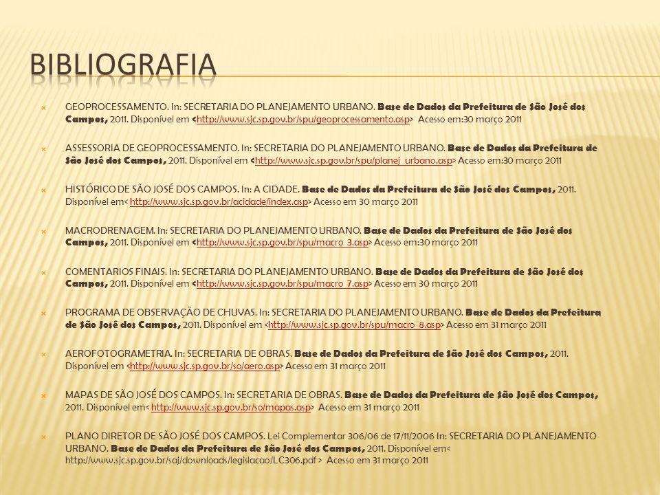 GEOPROCESSAMENTO. In: SECRETARIA DO PLANEJAMENTO URBANO. Base de Dados da Prefeitura de São José dos Campos, 2011. Disponível em Acesso em:30 março 20