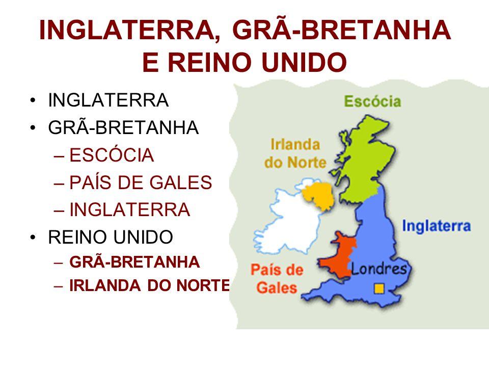 INGLATERRA, GRÃ-BRETANHA E REINO UNIDO INGLATERRA GRÃ-BRETANHA –ESCÓCIA –PAÍS DE GALES –INGLATERRA REINO UNIDO –GRÃ-BRETANHA –IRLANDA DO NORTE