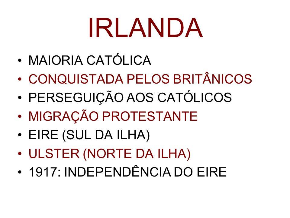 IRLANDA MAIORIA CATÓLICA CONQUISTADA PELOS BRITÂNICOS PERSEGUIÇÃO AOS CATÓLICOS MIGRAÇÃO PROTESTANTE EIRE (SUL DA ILHA) ULSTER (NORTE DA ILHA) 1917: I