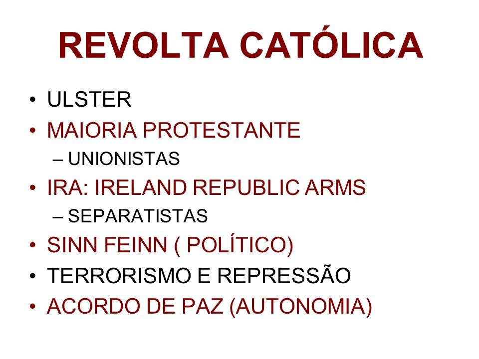 REVOLTA CATÓLICA ULSTER MAIORIA PROTESTANTE –UNIONISTAS IRA: IRELAND REPUBLIC ARMS –SEPARATISTAS SINN FEINN ( POLÍTICO) TERRORISMO E REPRESSÃO ACORDO