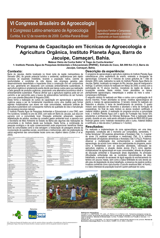 Programa de Capacitação em Técnicas de Agroecologia e Agricultura Orgânica, Instituto Planeta Água, Barra do Jacuípe, Camaçari, Bahia. Mateus Vieira d