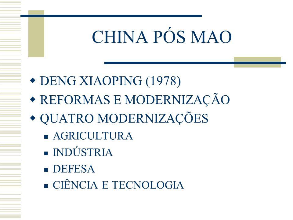 CHINA PÓS MAO DENG XIAOPING (1978) REFORMAS E MODERNIZAÇÃO QUATRO MODERNIZAÇÕES AGRICULTURA INDÚSTRIA DEFESA CIÊNCIA E TECNOLOGIA