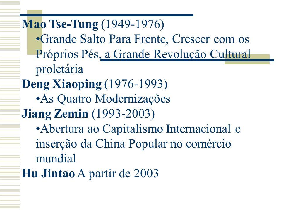Mao Tse-Tung (1949-1976) Grande Salto Para Frente, Crescer com os Próprios Pés, a Grande Revolução Cultural proletária Deng Xiaoping (1976-1993) As Qu