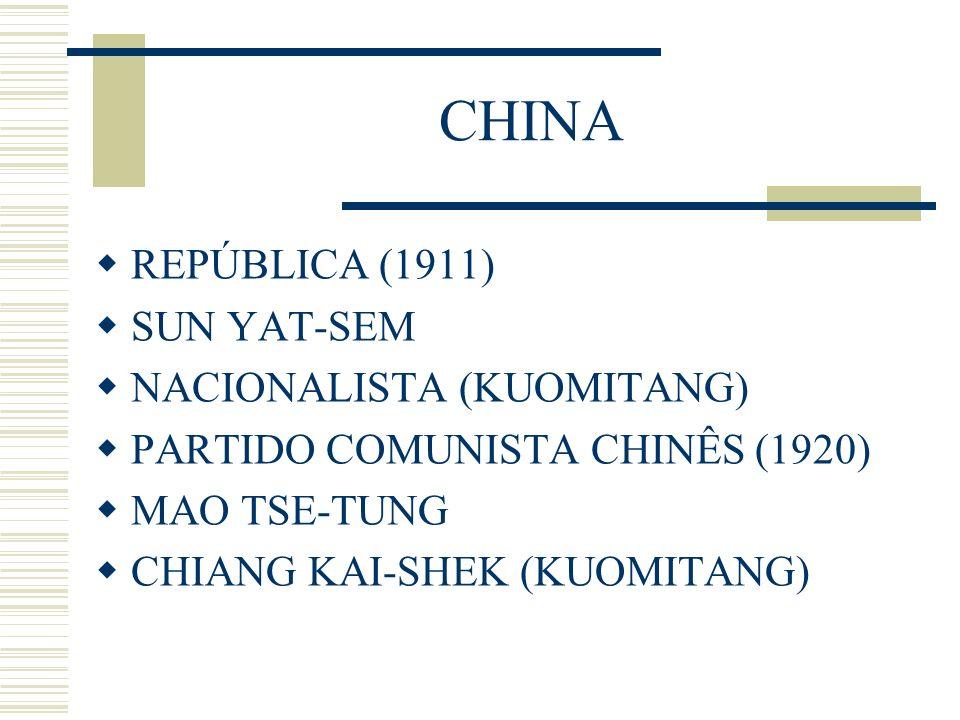 CHINA REPÚBLICA (1911) SUN YAT-SEM NACIONALISTA (KUOMITANG) PARTIDO COMUNISTA CHINÊS (1920) MAO TSE-TUNG CHIANG KAI-SHEK (KUOMITANG)