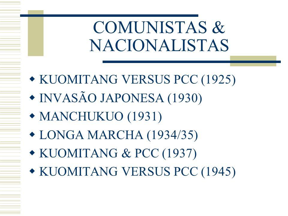 COMUNISTAS & NACIONALISTAS KUOMITANG VERSUS PCC (1925) INVASÃO JAPONESA (1930) MANCHUKUO (1931) LONGA MARCHA (1934/35) KUOMITANG & PCC (1937) KUOMITAN