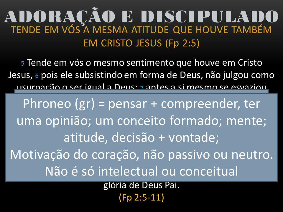 TENDE EM VÓS A MESMA ATITUDE QUE HOUVE TAMBÉM EM CRISTO JESUS (Fp 2:5) ADORAÇÃO E DISCIPULADO A MESMA ATITUDE DE CRISTO A SI MESMO ESVAZIOU A SI MESMO SE HUMILHOU TORNOU-SE OBEDIENTE (Heb 5:8) CHEIO DO ESPÍRITO SANTO DE DEUS (At 10:38) POR ISSO: (Heb 12:2) Olhando firmemente para o Autor e Consumador da Fé, Jesus