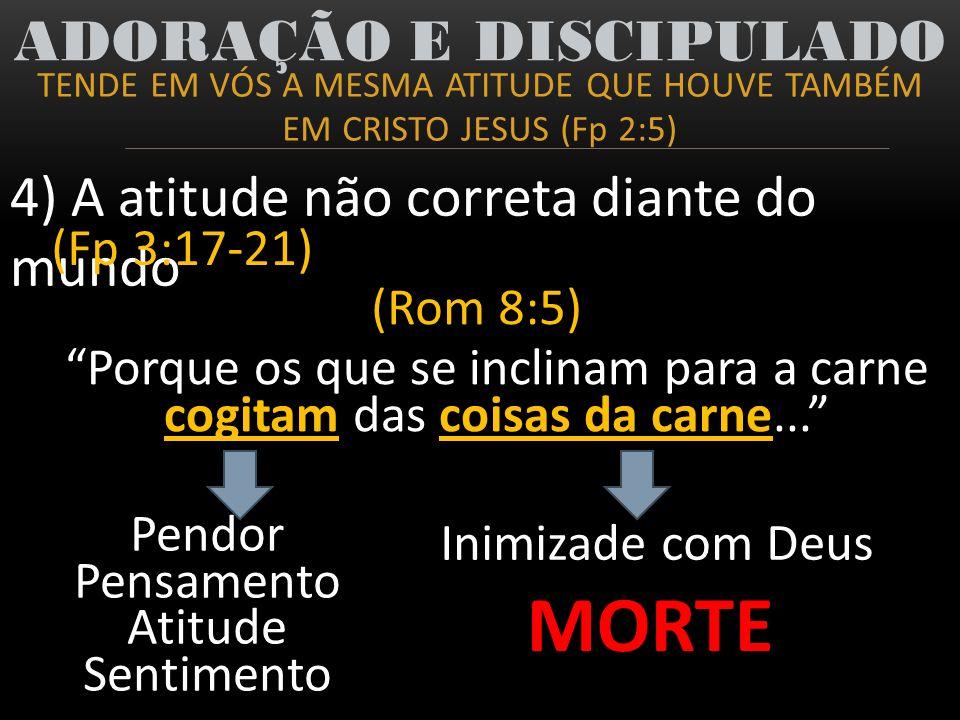 TENDE EM VÓS A MESMA ATITUDE QUE HOUVE TAMBÉM EM CRISTO JESUS (Fp 2:5) ADORAÇÃO E DISCIPULADO 4) A atitude não correta diante do mundo (Fp 3:17-21) (R