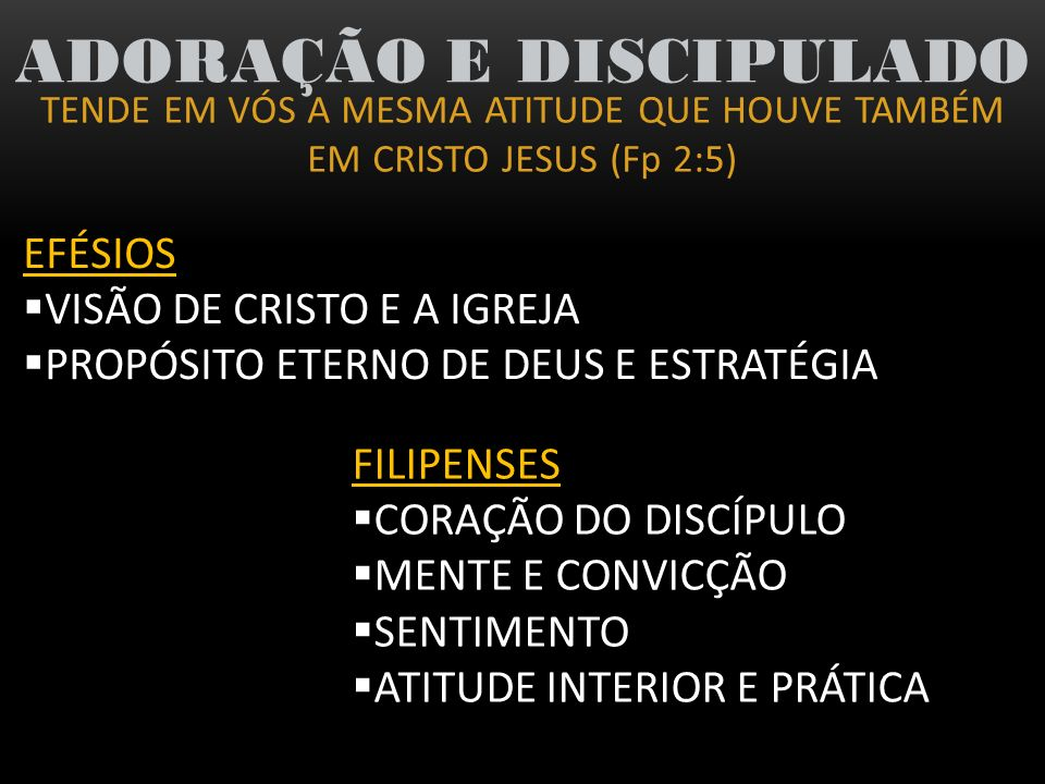 TENDE EM VÓS A MESMA ATITUDE QUE HOUVE TAMBÉM EM CRISTO JESUS (Fp 2:5) ADORAÇÃO E DISCIPULADO 4) A atitude não correta diante do mundo (Fp 3:17-21) (Col 3:1-2)...que não alimentareis nenhum outro sentimento PENSAI nas coisas lá do alto BUSCAI as coisas lá do alto Atitude