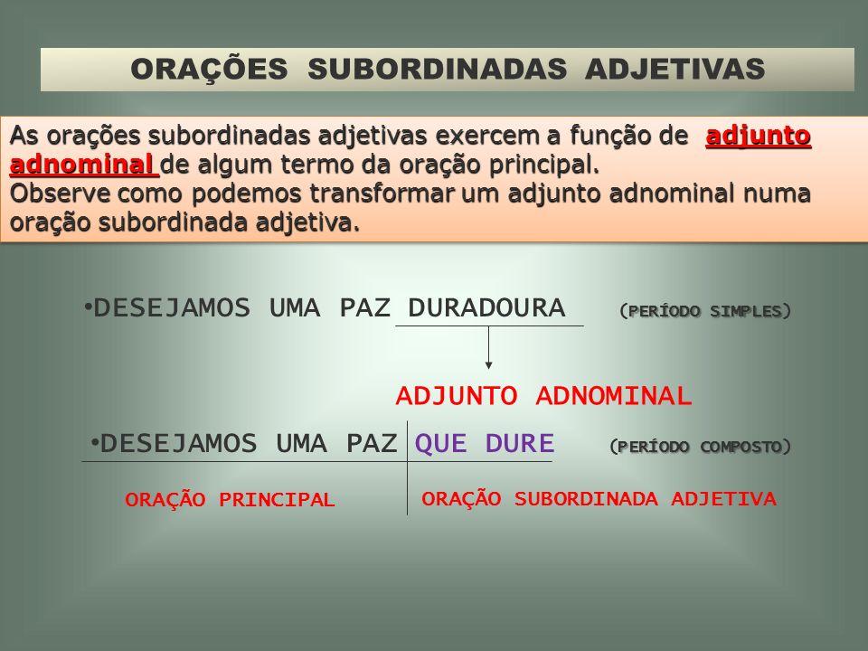 ORAÇÕES SUBORDINADAS ADJETIVAS PROFESSORA ADRIANA CARVALHO PORTUGUÊS 9ºANO