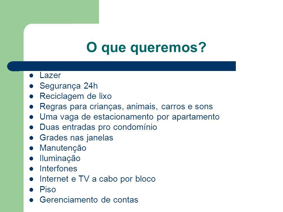 O que queremos? Lazer Segurança 24h Reciclagem de lixo Regras para crianças, animais, carros e sons Uma vaga de estacionamento por apartamento Duas en