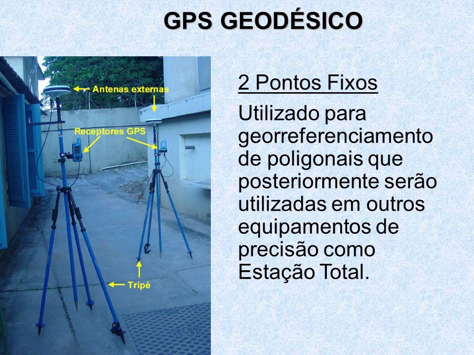 2 Pontos Fixos Utilizado para georreferenciamento de poligonais que posteriormente serão utilizadas em outros equipamentos de precisão como Estação Total.