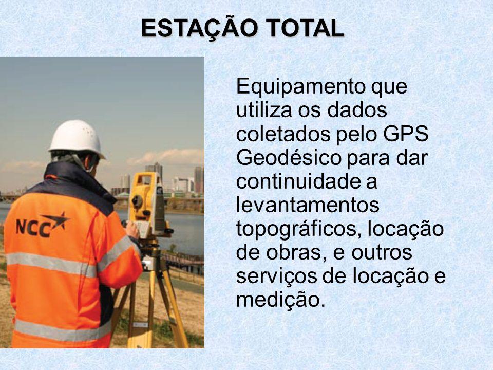 Equipamento que utiliza os dados coletados pelo GPS Geodésico para dar continuidade a levantamentos topográficos, locação de obras, e outros serviços de locação e medição.