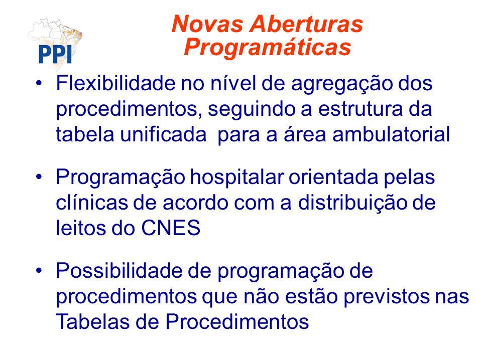 Flexibilidade no nível de agregação dos procedimentos, seguindo a estrutura da tabela unificada para a área ambulatorial Programação hospitalar orient
