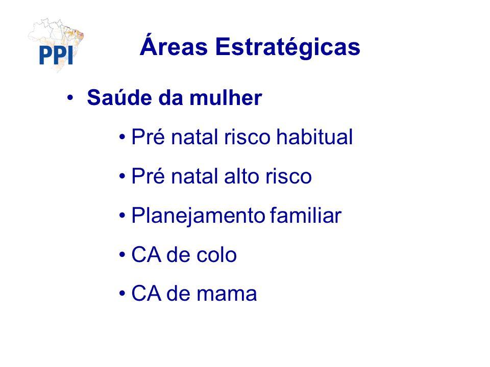 Áreas Estratégicas Saúde da mulher Pré natal risco habitual Pré natal alto risco Planejamento familiar CA de colo CA de mama