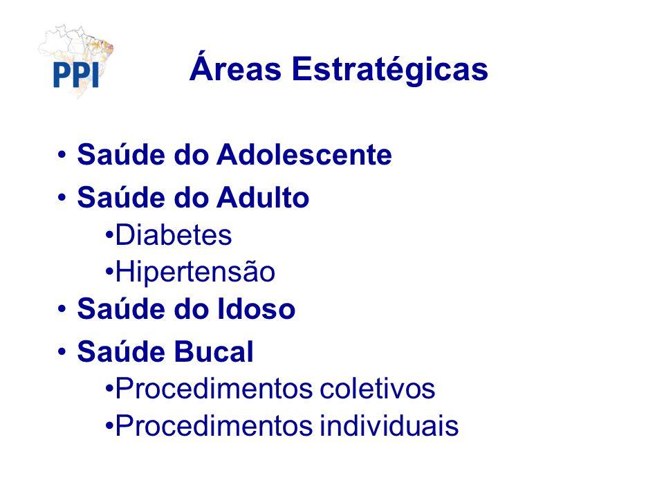 Áreas Estratégicas Saúde do Adolescente Saúde do Adulto Diabetes Hipertensão Saúde do Idoso Saúde Bucal Procedimentos coletivos Procedimentos individu