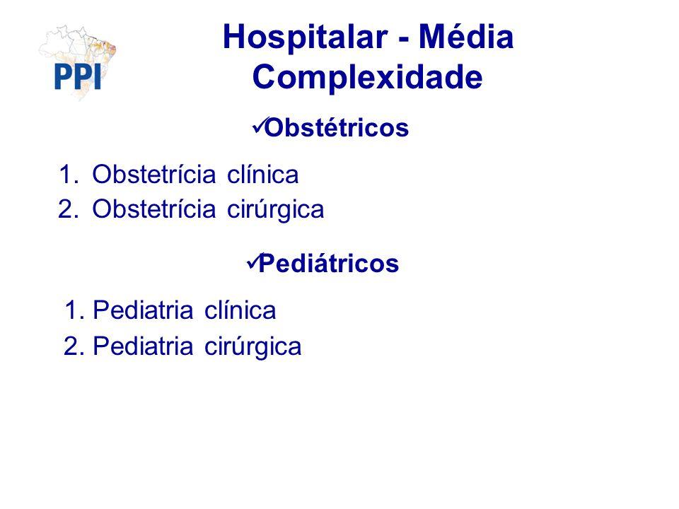 Hospitalar - Média Complexidade Obstétricos 1.Obstetrícia clínica 2.Obstetrícia cirúrgica Pediátricos 1. Pediatria clínica 2. Pediatria cirúrgica