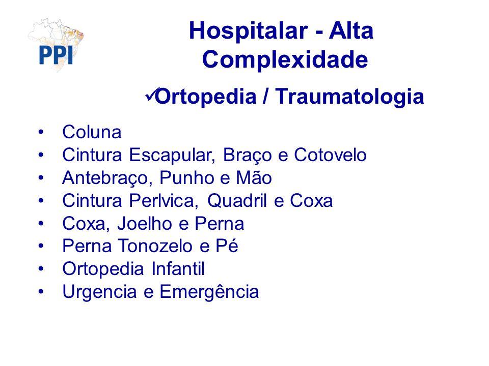 Hospitalar - Alta Complexidade Ortopedia / Traumatologia Coluna Cintura Escapular, Braço e Cotovelo Antebraço, Punho e Mão Cintura Perlvica, Quadril e
