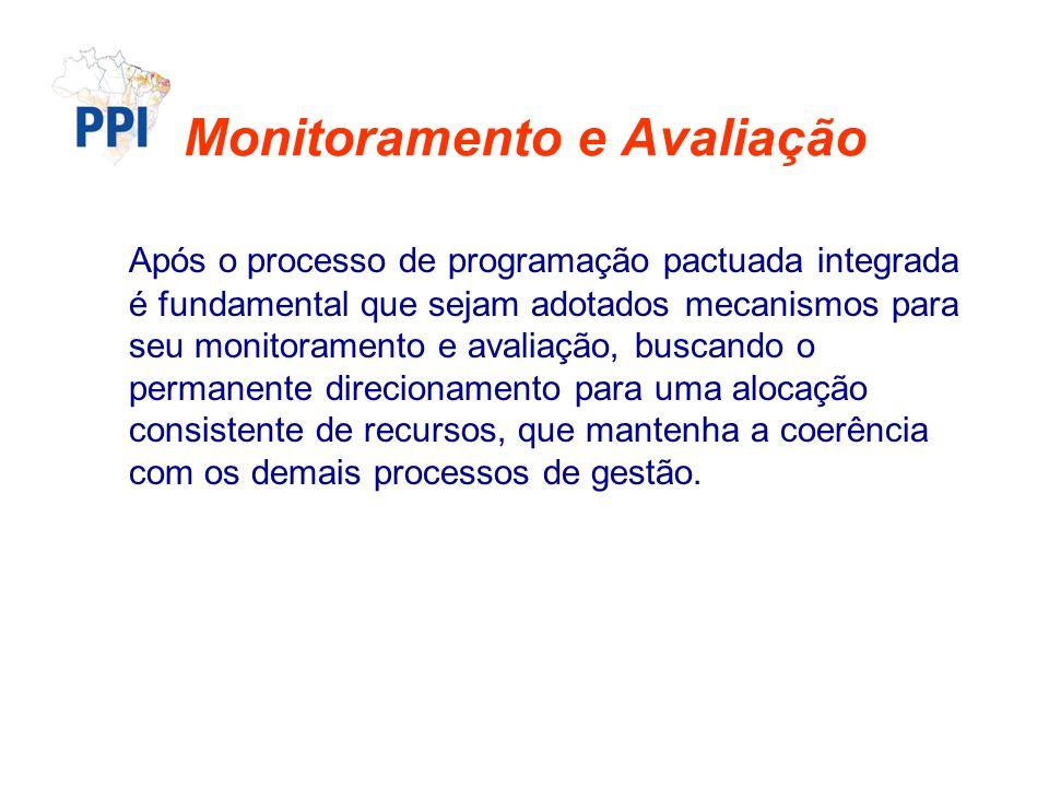 Monitoramento e Avaliação Após o processo de programação pactuada integrada é fundamental que sejam adotados mecanismos para seu monitoramento e avali