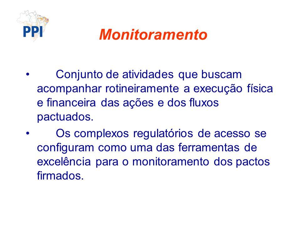 Monitoramento Conjunto de atividades que buscam acompanhar rotineiramente a execução física e financeira das ações e dos fluxos pactuados. Os complexo