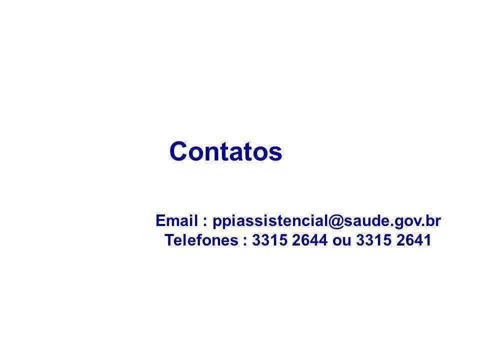Contatos Email : ppiassistencial@saude.gov.br Telefones : 3315 2644 ou 3315 2641