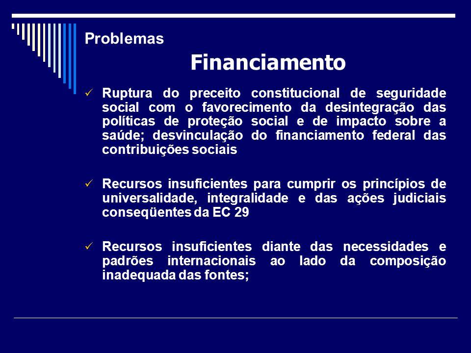 Problemas Ruptura do preceito constitucional de seguridade social com o favorecimento da desintegração das políticas de proteção social e de impacto s