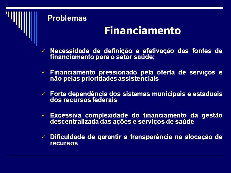 Necessidade de definição e efetivação das fontes de financiamento para o setor saúde; Financiamento pressionado pela oferta de serviços e não pelas pr
